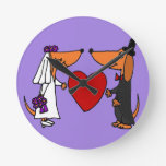 Perros de perrito divertidos del Dachshund novia y Reloj