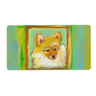 Perros de pintura coloridos de Pomeranian de la Etiquetas De Envío