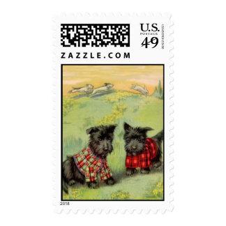 Perros de Scotty del vintage en tela escocesa de Sellos