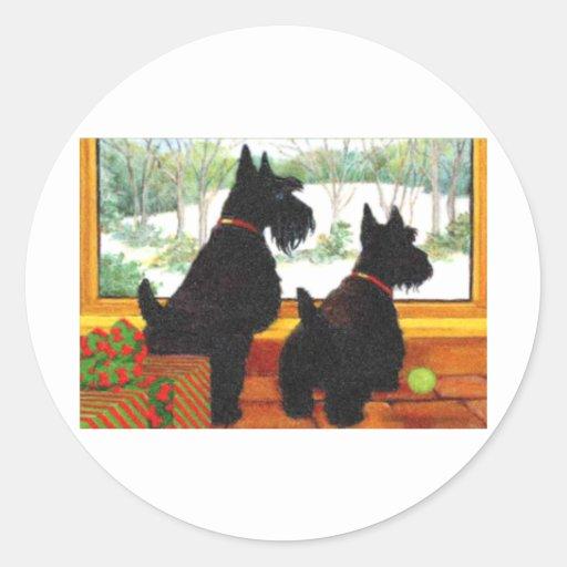 Perros de Scotty en el navidad - para Santa que Pegatina Redonda