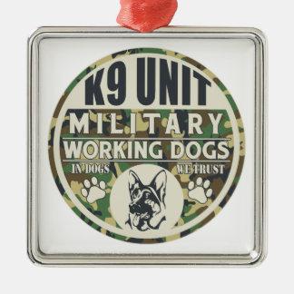 Perros de trabajo militares de la unidad K9 Adorno Cuadrado Plateado