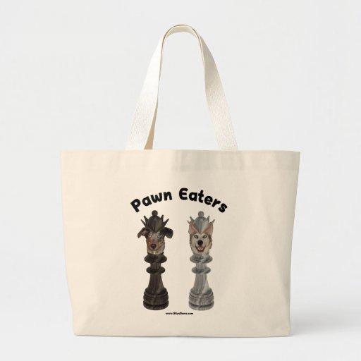 Perros del ajedrez de los comedores del empeño bolsa tela grande