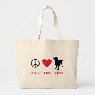Perros del amor de la paz bolsa tela grande