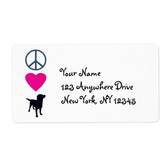 Perros del amor de la paz etiqueta de envío