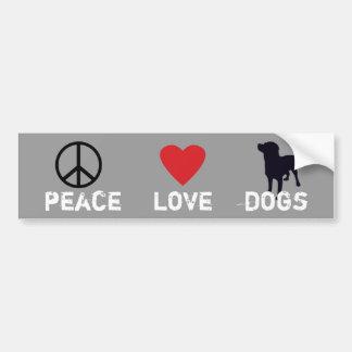 Perros del amor de la paz etiqueta de parachoque