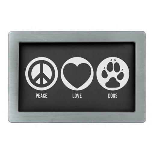 Perros del amor de la paz hebillas cinturon