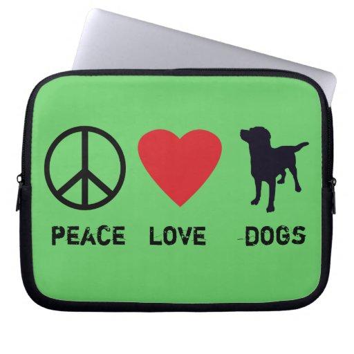 Perros del amor de la paz manga portátil