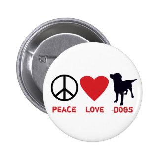 Perros del amor de la paz pin redondo de 2 pulgadas