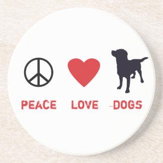 Perros del amor de la paz posavasos personalizados