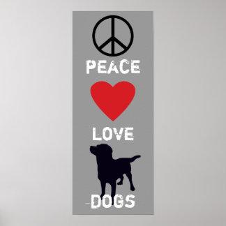 Perros del amor de la paz póster