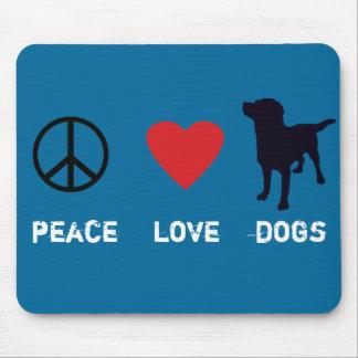Perros del amor de la paz tapetes de raton