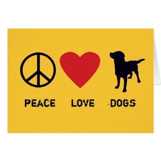 Perros del amor de la paz tarjeta de felicitación