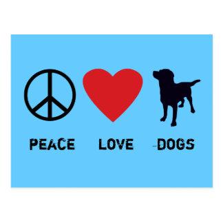 Perros del amor de la paz tarjetas postales