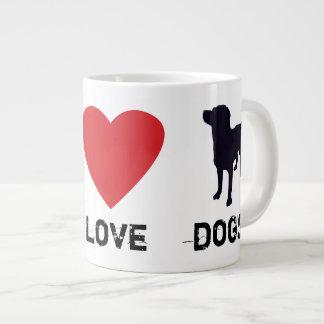 Perros del amor de la paz taza de café gigante