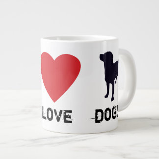 Perros del amor de la paz taza grande
