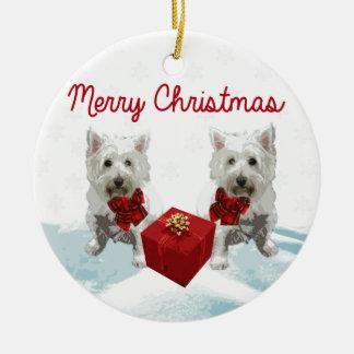 Perros del blanco de las Felices Navidad de Westie Adorno Navideño Redondo De Cerámica