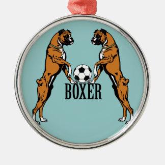 perros del boxeador con el balón de fútbol adorno de reyes