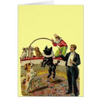 Perros del circo del Victorian, payaso del instruc Felicitación