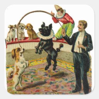 Perros del circo del Victorian, payaso del Pegatinas Cuadradas Personalizadas
