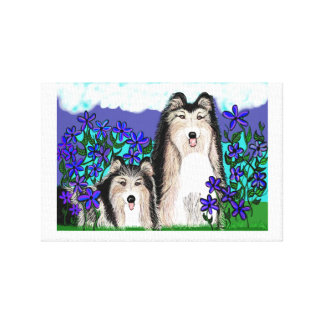 Perros del collie detallados maravillosamente en o lona envuelta para galerias