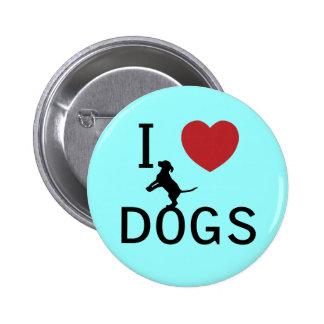 perros del corazón i pin redondo de 2 pulgadas
