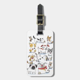 perros del dibujo animado etiqueta de maleta