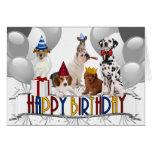 ¡Perros del feliz cumpleaños todos nosotros! Tarjeta De Felicitación