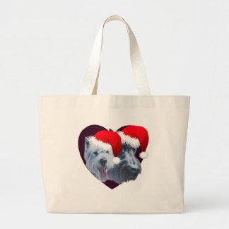 Perros del navidad bolsas lienzo