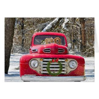 Perros del navidad en el camión viejo tarjeta de felicitación