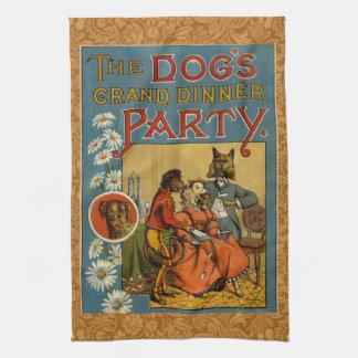 Perros del vintage del fiesta de cena toallas de mano