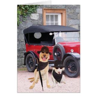 Perros divertidos adaptables clásicos felicitaciones
