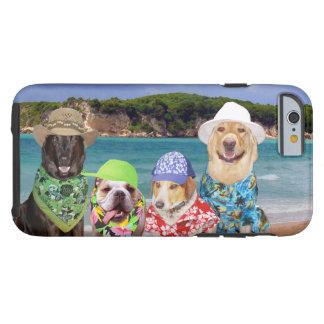 Perros divertidos/laboratorio en la playa funda de iPhone 6 tough