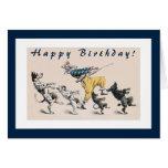 Perros divertidos y cumpleaños del payaso 50.o tarjeta
