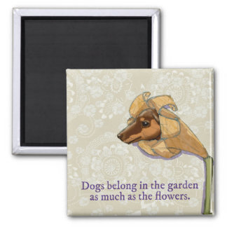 Perros en el imán del jardín