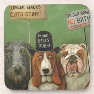 Perros en huelga posavasos de bebida