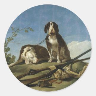 Perros en traílla Round Sticker