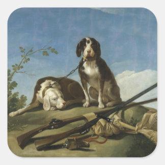 Perros en traílla Square Sticker