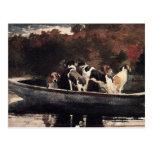 Perros en un barco de Winslow Homer Postal