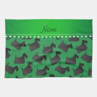 Perros escoceses verdes conocidos personalizados toallas