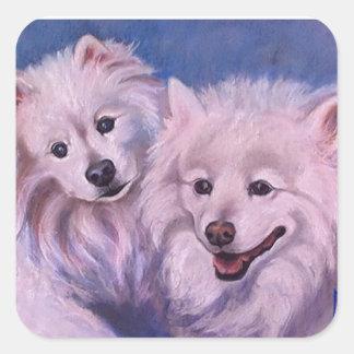 Perros esquimales americanos pegatina cuadrada