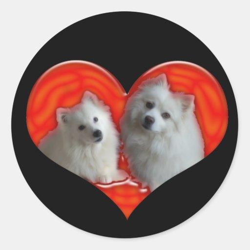 Perros esquimales americanos pegatina redonda