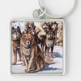Perros esquimales de Alaska Llavero Cuadrado Plateado