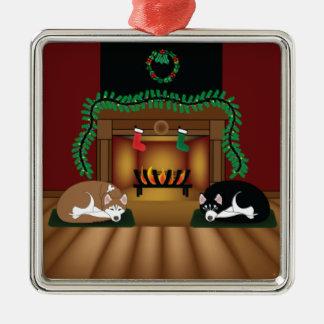Perros esquimales del día de fiesta que duermen adorno navideño cuadrado de metal