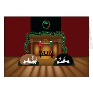 Perros esquimales del día de fiesta que duermen tarjeta de felicitación