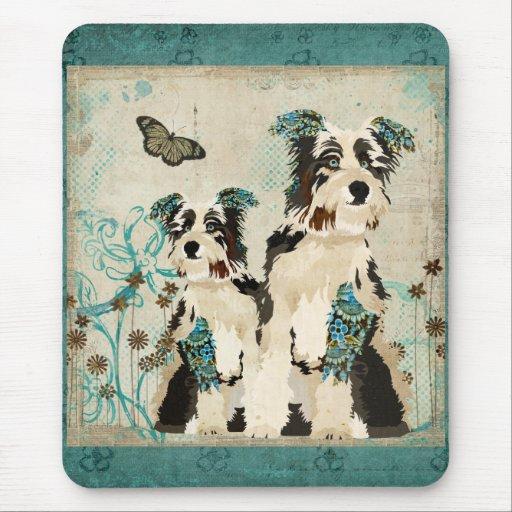 Perros florales azules Mousepad del vintage Alfombrilla De Ratones