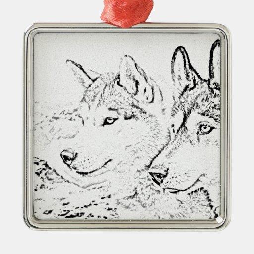 Perros fornidos adorno navideño cuadrado de metal