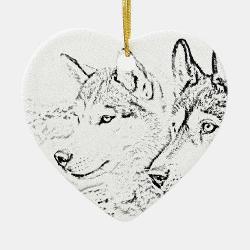 Perros fornidos adorno de cerámica en forma de corazón