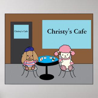 Perros franceses en un personalizable del café póster