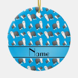 Perros ingleses viejos conocidos de encargo del adorno navideño redondo de cerámica