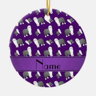 Perros ingleses viejos púrpuras conocidos adorno navideño redondo de cerámica